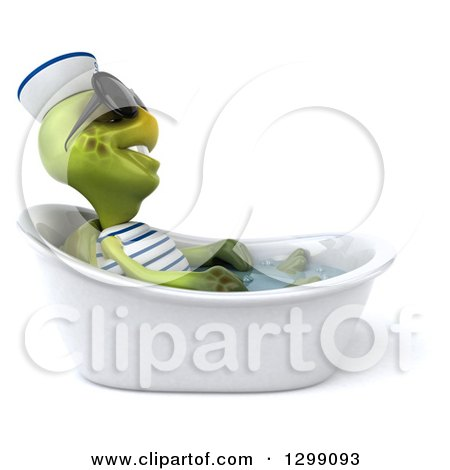 Clipart of a 3d Tortoise Turtle Sailor Wearing Sunglasses, Facing Right and Soaking in a Bath Tub - Royalty Free Illustration by Julos