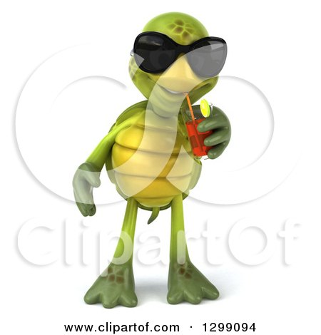 Clipart of a 3d Tortoise Wearing Sunglasses and Drinking Iced Tea - Royalty Free Illustration by Julos