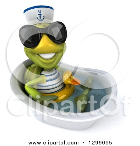 Clipart of a 3d Tortoise Turtle Sailor Wearing Sunglasses, Facing Right, Sitting and Wearing a Duck Inner Tube in a Tub - Royalty Free Illustration by Julos