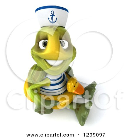 Clipart of a 3d Tortoise Turtle Sailor Looking Up, Smiling and Sitting on the Floor with a Duck Inner Tube - Royalty Free Illustration by Julos