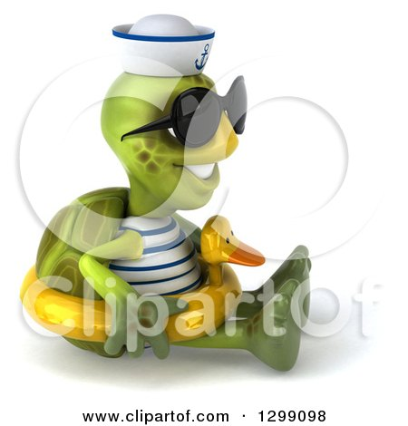 Clipart of a 3d Tortoise Turtle Sailor Wearing Sunglasses, Facing Right, Sitting and Wearing a Duck Inner Tube - Royalty Free Illustration by Julos
