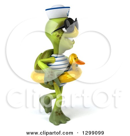 Clipart of a 3d Tortoise Turtle Sailor Wearing Sunglasses, Facing Right, Walking and Wearing a Duck Inner Tube - Royalty Free Illustration by Julos
