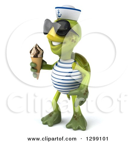 Clipart of a 3d Tortoise Turtle Sailor Wearing Sunglasses, Facing Left and Holding a Waffle Ice Cream Cone - Royalty Free Illustration by Julos