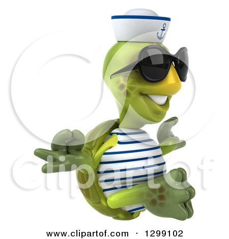 Clipart of a 3d Tortoise Turtle Sailor Wearing Sunglasses, Facing Right and Meditating - Royalty Free Illustration by Julos