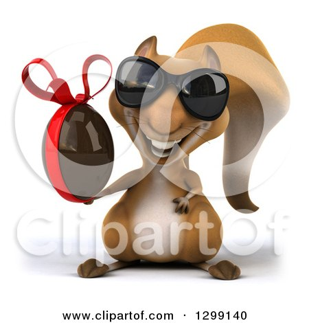 Clipart of a 3d Squirrel Wearing Sunglasses and Holding a Chocolate Easter Egg - Royalty Free Illustration by Julos