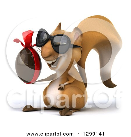 Clipart of a 3d Squirrel Wearing Sunglasses, Facing Left and Holding a Chocolate Easter Egg - Royalty Free Illustration by Julos