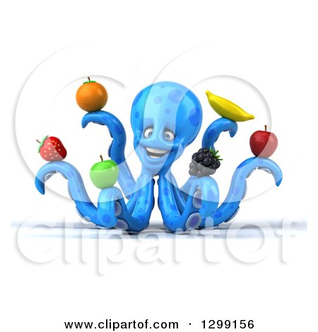 Clipart of a 3d Blue Octopus Smiling and Holding Fruit - Royalty Free Illustration by Julos