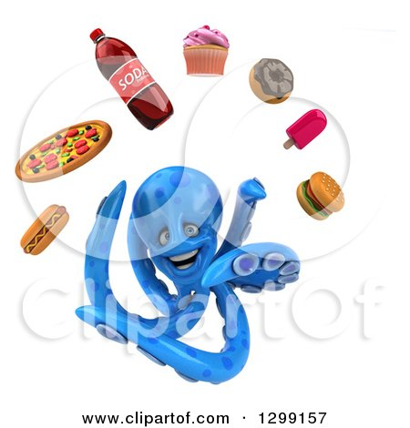 Clipart of a 3d Blue Octopus Juggling Junk Food - Royalty Free Illustration by Julos