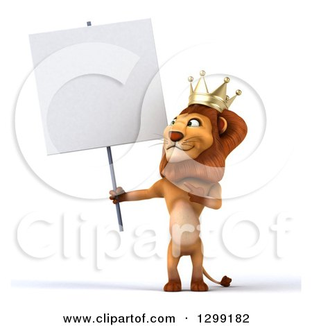 Clipart of a 3d Male Lion King Holding and Pointing to a Blank Sign - Royalty Free Illustration by Julos