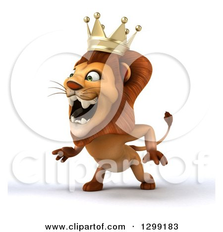 Clipart of a 3d Male Lion King Facing Slightly Left and Roaring - Royalty Free Illustration by Julos