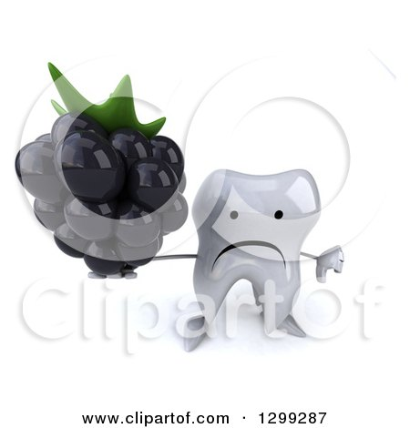 Clipart of a 3d unhappy tooth character holding up a blackberry and