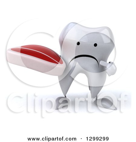 Clipart of a 3d Unhappy Tooth Character Holding and Pointing to a Beef Steak - Royalty Free Illustration by Julos