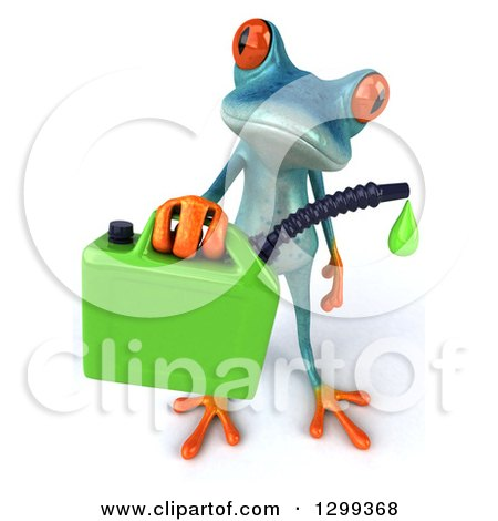 Clipart of a 3d Turquoise Springer Frog Holding up a Dripping Biofuel Gas Can - Royalty Free Illustration by Julos