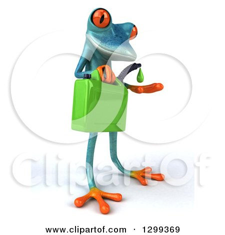 Clipart of a 3d Turquoise Springer Frog Facing Slightly Right, Catching a Droplet from a Biofuel Gas Can - Royalty Free Illustration by Julos