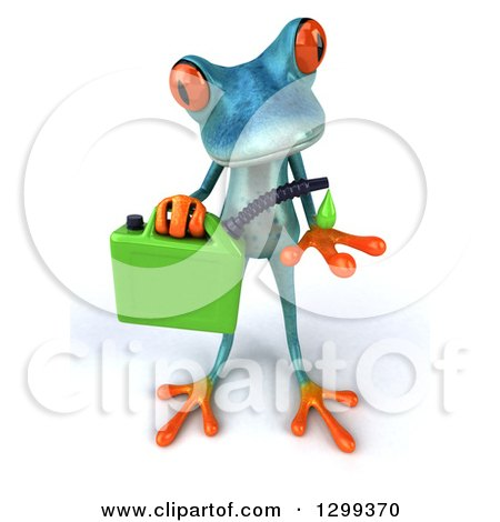 Clipart of a 3d Turquoise Springer Frog Catching a Droplet from a Biofuel Gas Can - Royalty Free Illustration by Julos