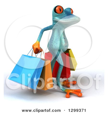 Clipart of a 3d Turquoise Springer Frog Facing Right and Carrying Shopping Bags - Royalty Free Illustration by Julos