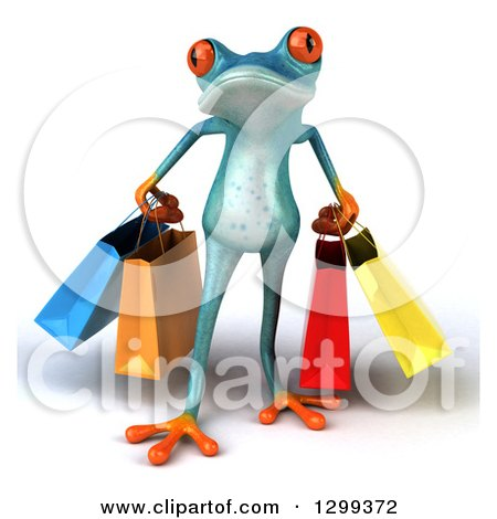 Clipart of a 3d Turquoise Springer Frog Carrying Shopping Bags - Royalty Free Illustration by Julos