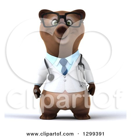 Clipart of a 3d Happy Bespectacled Brown Bear Doctor or Veterinarian - Royalty Free Illustration by Julos