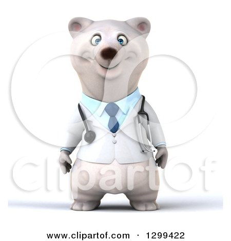 Clipart of a 3d Happy Polar Bear Doctor or Veterinarian - Royalty Free Illustration by Julos