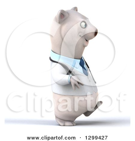 Clipart of a 3d Happy Polar Bear Doctor or Veterinarian Walking to the Right - Royalty Free Illustration by Julos