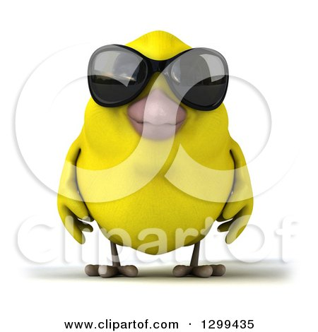 Clipart of a 3d Happy Yellow Bird Wearing Sunglasses - Royalty Free Illustration by Julos