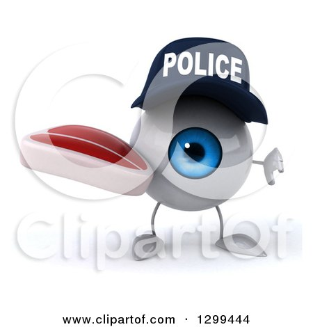 Clipart of a 3d Blue Police Eyeball Character Holding a Beef Steak and Thumb down - Royalty Free Illustration by Julos