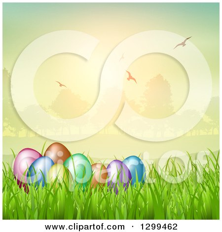 Clipart of 3d Colorful Easter Eggs in Grass, with a Park and Flying Birds at Sunset - Royalty Free Vector Illustration by KJ Pargeter