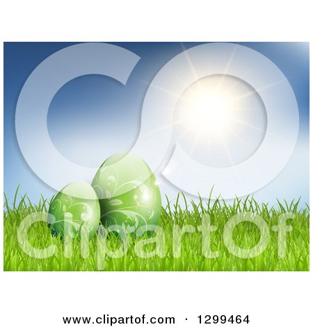 Clipart of 3d Green Vine Patterned Easter Eggs in Grass over a Blue Sky with Sunshie - Royalty Free Vector Illustration by KJ Pargeter