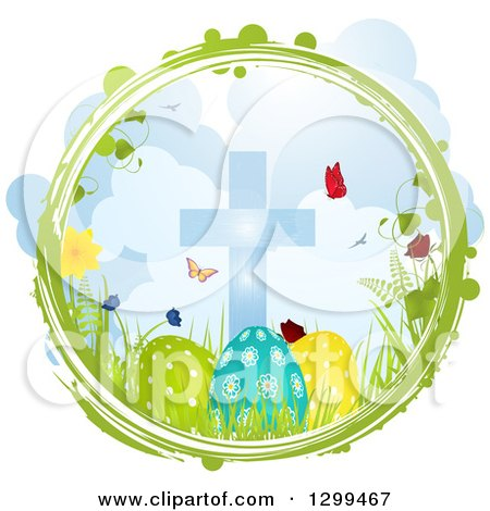 Clipart of a Green and White Grunge Circle with Butterflies, Flowers, Grass a Cross and Easter Eggs - Royalty Free Vector Illustration by elaineitalia