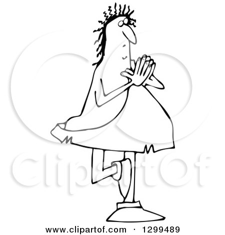 Lineart Clipart of a Black and White Chubby Caveman Balanced on One Foot and Doing Yoga - Royalty Free Outline Vector Illustration by djart