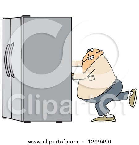 Clipart of a Chubby White Man Using the Wall Behind Him to Push a Refrigerator out - Royalty Free Vector Illustration by djart