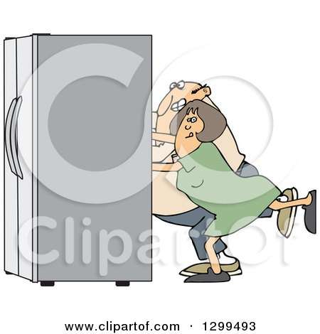 Clipart of a Chubby White Couple Using the Wall Behind Them to Push a Refrigerator out - Royalty Free Vector Illustration by djart