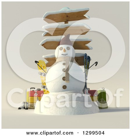 Clipart of a 3d Christmas Snowman with Wooden Directional Signs, Luggage and Ski Equipment - Royalty Free Illustration by Frank Boston