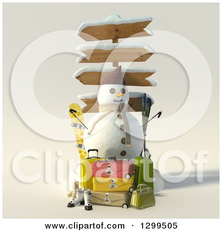 Clipart of a 3d Christmas Snowman with Directional Signs, Luggage and Ski Equipment - Royalty Free Illustration by Frank Boston