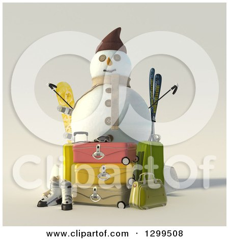 Clipart of a 3d Christmas Snowman with Luggage and Ski Equipment - Royalty Free Illustration by Frank Boston