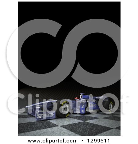 Clipart of a 3d Formula One Race Car on Checkers, with Text Space on Black - Royalty Free Illustration by Frank Boston