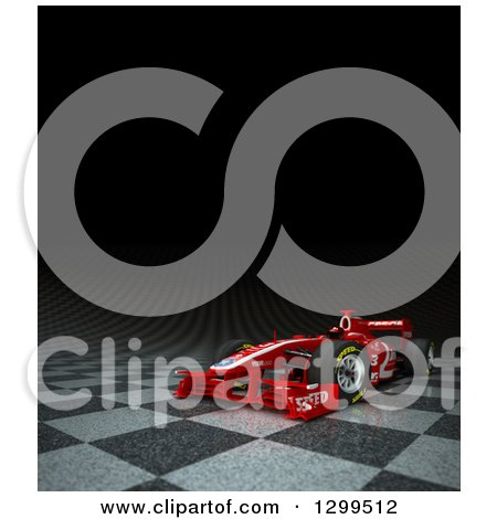 Clipart of a 3d Formula One Red Race Car on Checkers with Text Space on Black - Royalty Free Illustration by Frank Boston
