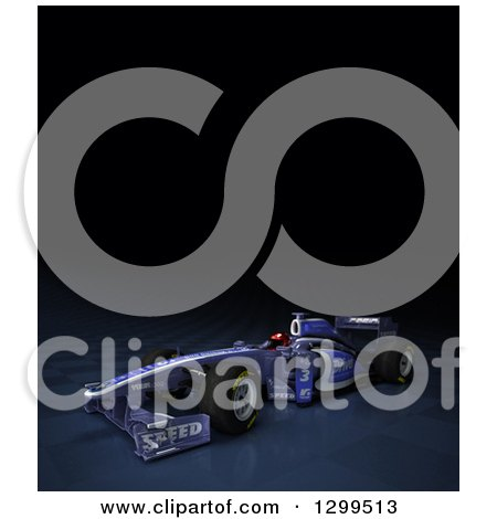 Clipart of a 3d Formula One Race Car on Checkers, with Text Space on Black 2 - Royalty Free Illustration by Frank Boston