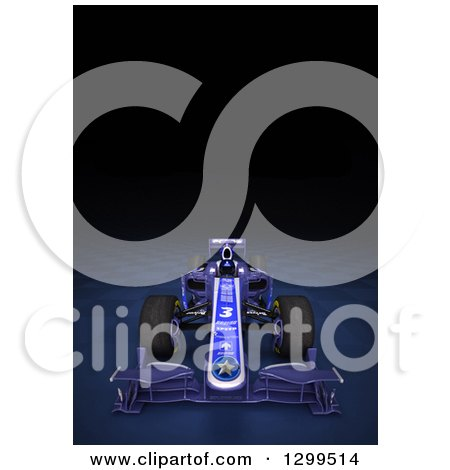 Clipart of a 3d Formula One Race Car on Checkers, with Text Space on Black 3 - Royalty Free Illustration by Frank Boston