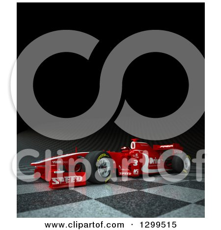 Clipart of a 3d Formula One Red Race Car on Checkers with Text Space on Black 2 - Royalty Free Illustration by Frank Boston