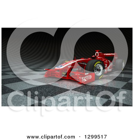 Clipart of a 3d Formula One Red Race Car on Checkers - Royalty Free Illustration by Frank Boston
