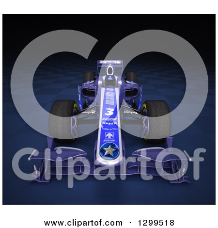 Clipart of a 3d Formula One Race Car on Checkers 3 - Royalty Free Illustration by Frank Boston