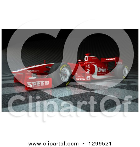 Clipart of a 3d Formula One Red Race Car on Checkers 2 - Royalty Free Illustration by Frank Boston