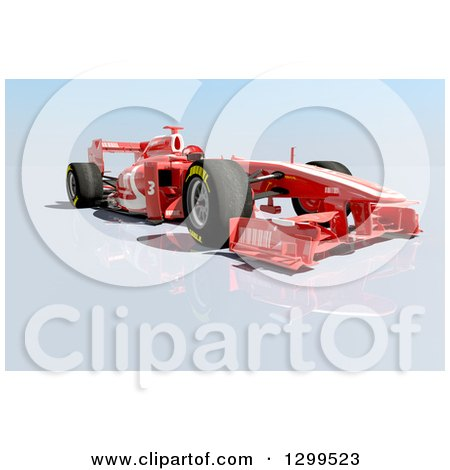 Clipart of a 3d Formula One Red Race Car 2 - Royalty Free Illustration by Frank Boston