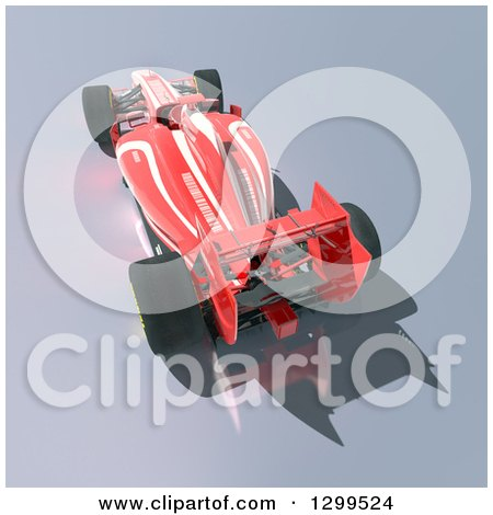 Clipart of a 3d Formula One Red Race Car 3 - Royalty Free Illustration by Frank Boston
