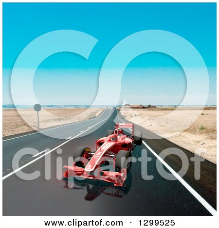 Clipart of a 3d Formula One Red Race Car on a Road - Royalty Free Illustration by Frank Boston