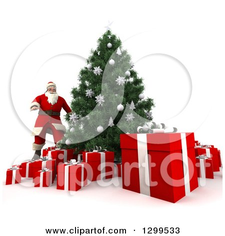 Clipart of a 3d Christmas Tree and Santa with Gifts - Royalty Free Illustration by Frank Boston