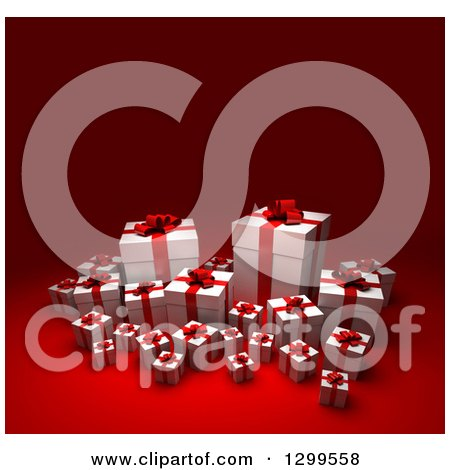 Clipart Of A 3d Group Red And White Christmas Or Birthday Gifts On