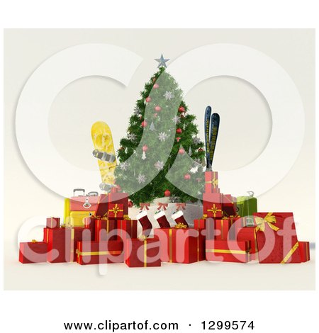Clipart of a 3d Christmas Tree with Gifts, Stocking, Luggage, Ski and Snowboarding Gear - Royalty Free Illustration by Frank Boston