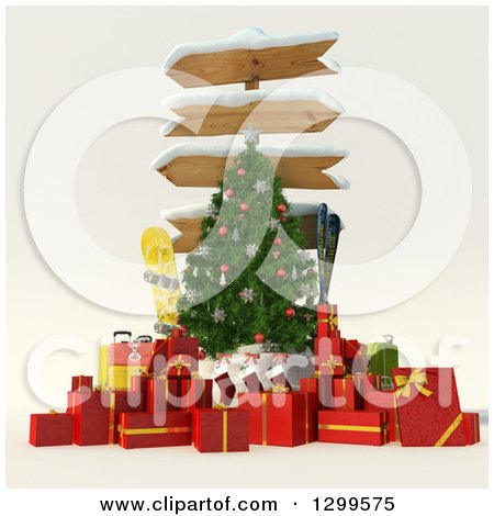 Clipart of a 3d Sign Post Christmas Tree with Gifts, Stocking, Luggage, Ski and Snowboarding Gear - Royalty Free Illustration by Frank Boston